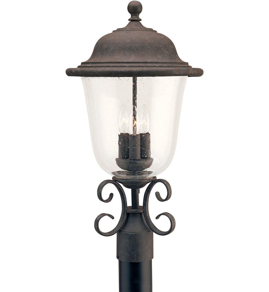 Sea Gull Lighting - Trafalgar Oxidized Bronze 3 Light Outdoor Post Lantern