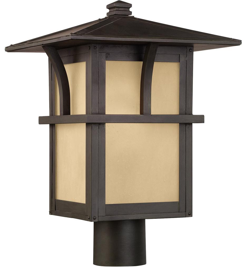 Sea Gull Lighting - Medford Lakes Statuary Bronze 1 Light Outdoor Post Lantern