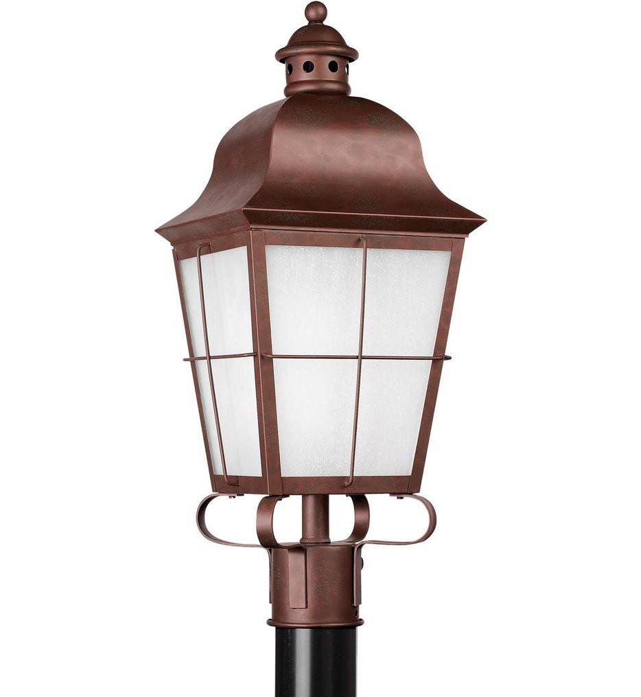 Sea Gull Lighting - 82973EN3-44 - Chatham Weathered Copper 1 Light LED Outdoor Post Lantern