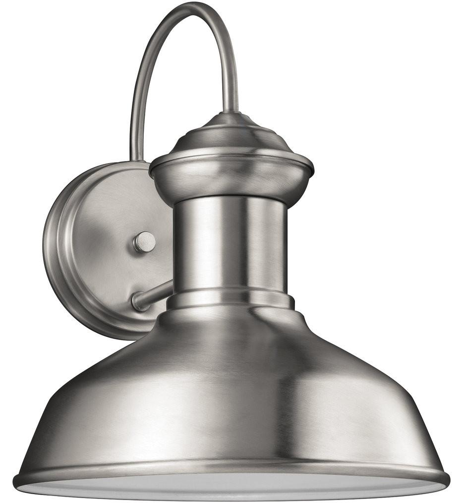 Sea Gull Lighting - 8547701-04 - Fredricksburg Satin Aluminum 11.94 Inch 1 Light Incandescent Outdoor Wall Lantern