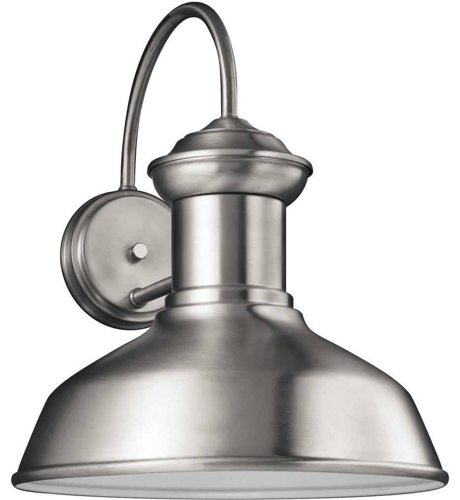 Sea Gull Lighting - 8647701-04 - Fredricksburg Satin Aluminum 15.88 Inch 1 Light Incandescent Outdoor Wall Lantern