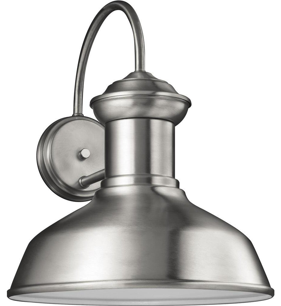 Sea Gull Lighting - 8647793S-04 - Fredricksburg Satin Aluminum 15.88 Inch 1 Light Outdoor Wall Lantern