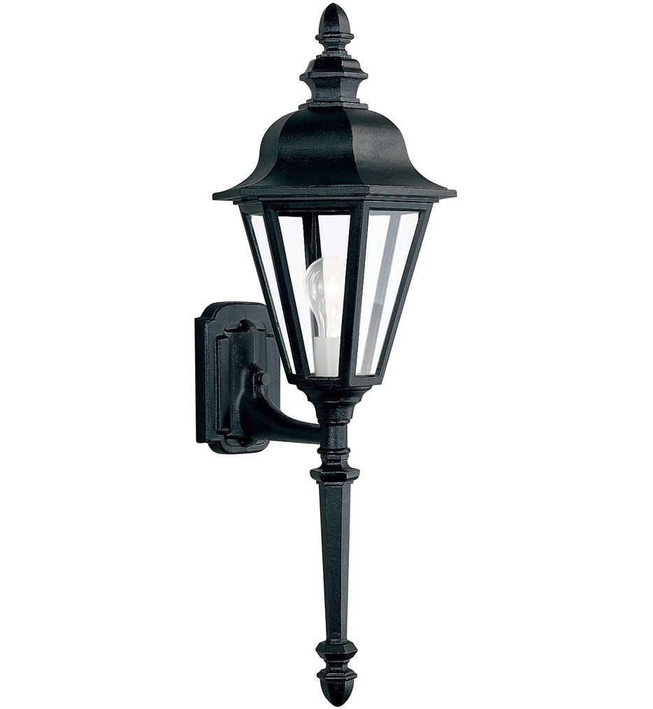 Sea Gull Lighting - 8823-12 - Brentwood Black 28 Inch 1 Light Outdoor Wall Lantern