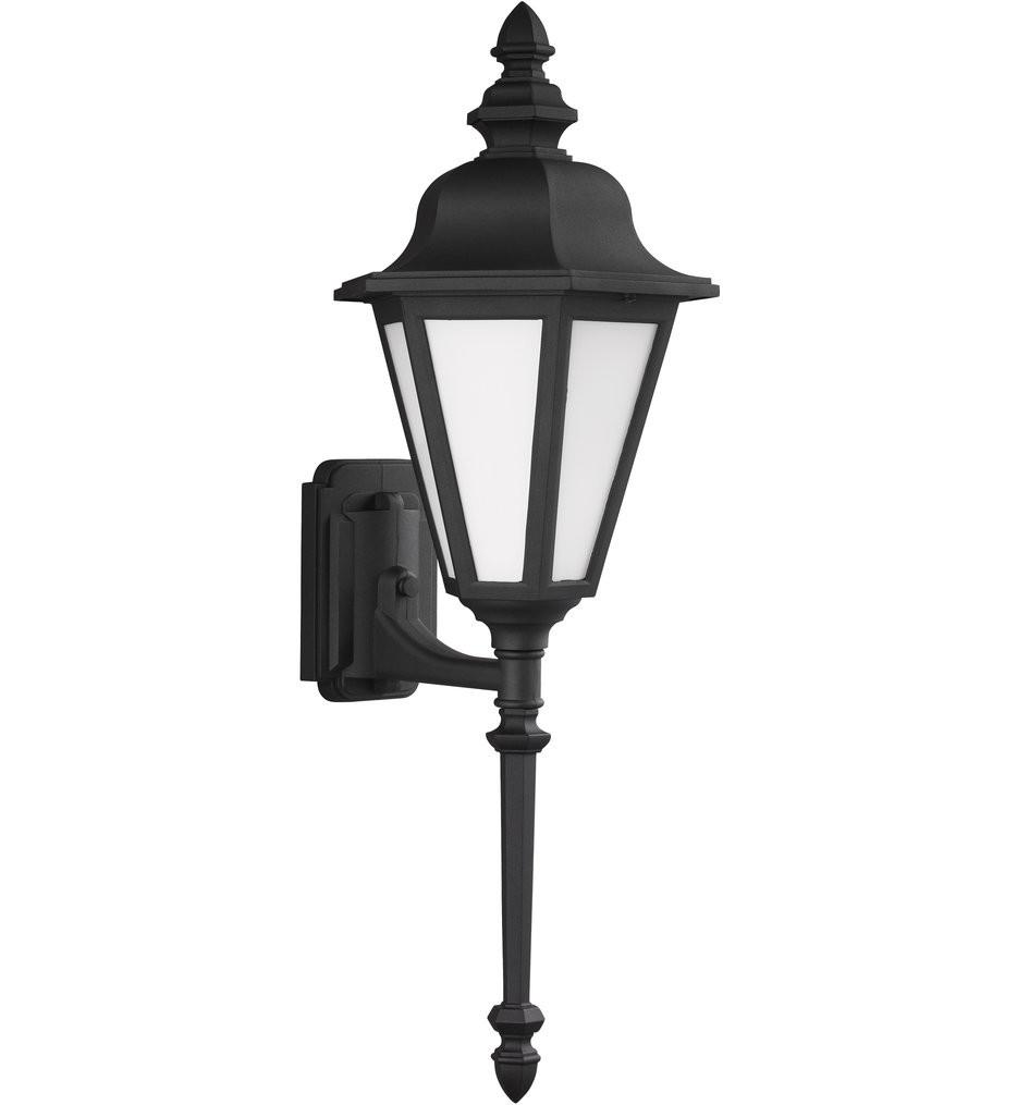 Sea Gull Lighting - 89823-12 - Brentwood Black 28 Inch 1 Light Incandescent Outdoor Wall Lantern