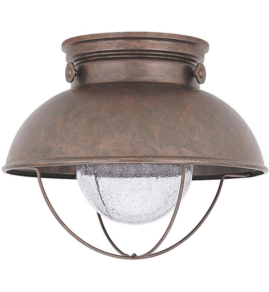 Sea Gull Lighting - 886993S-44 - Sebring Weathered Copper 1 Light Outdoor Flush Mount