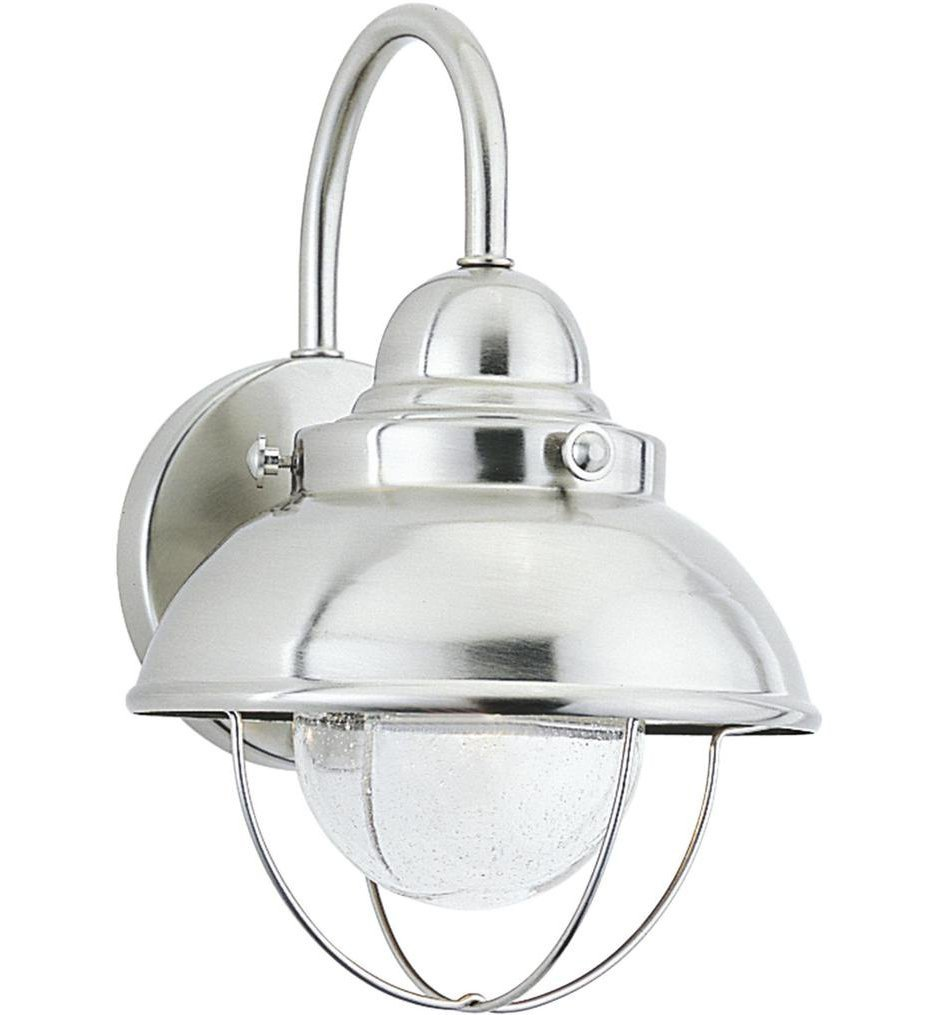 Sea Gull Lighting - 887093S-98 - Sebring Brushed Stainless 11.25 Inch 1 Light Outdoor Wall Lantern