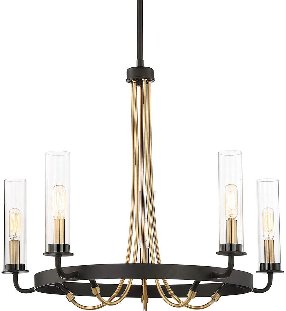Savoy House - 1-8071-5-51 - Kearney Vintage Black with Warm Brass 5 Light Chandelier