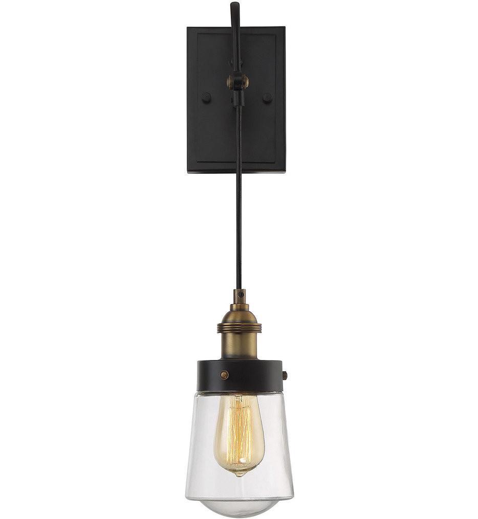 Savoy House - 9-2065-1-51 - Macauley Vintage Black with Warm Brass 1 Light Wall Sconce