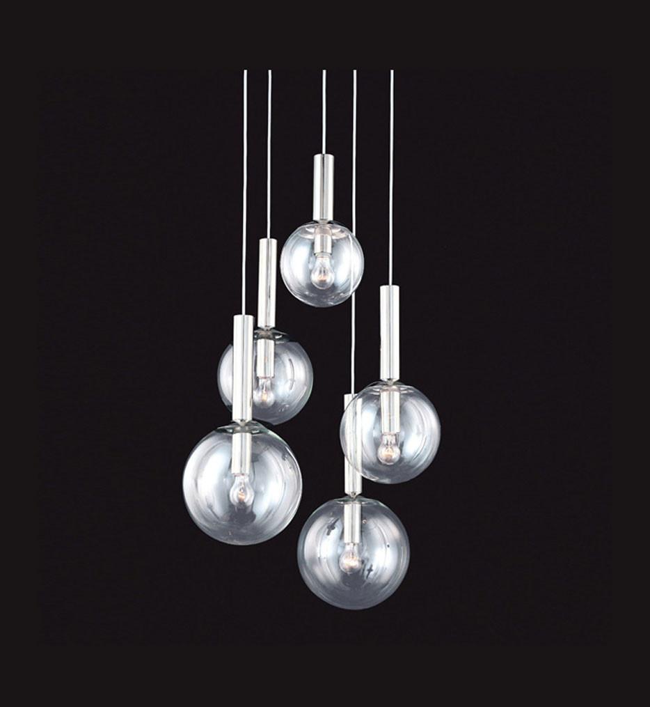 Sonneman 3765.35 Polished Nickel Bubbles 5 Light Pendant