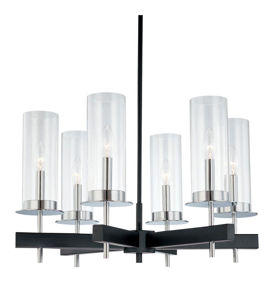 Sonneman 4066.54 Chrome/Black Tuxedo 6 Light Round Pendant