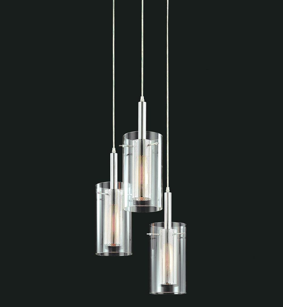Sonneman 4395.57 Black & Chrome Zylinder 3 Light Round Pendant