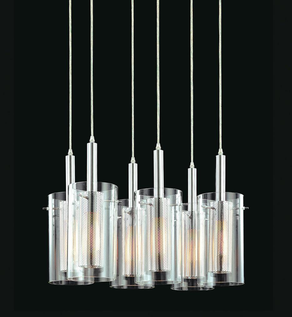 Sonneman 4398.57 Black & Chrome Zylinder 6 Light Rectangle Pendant