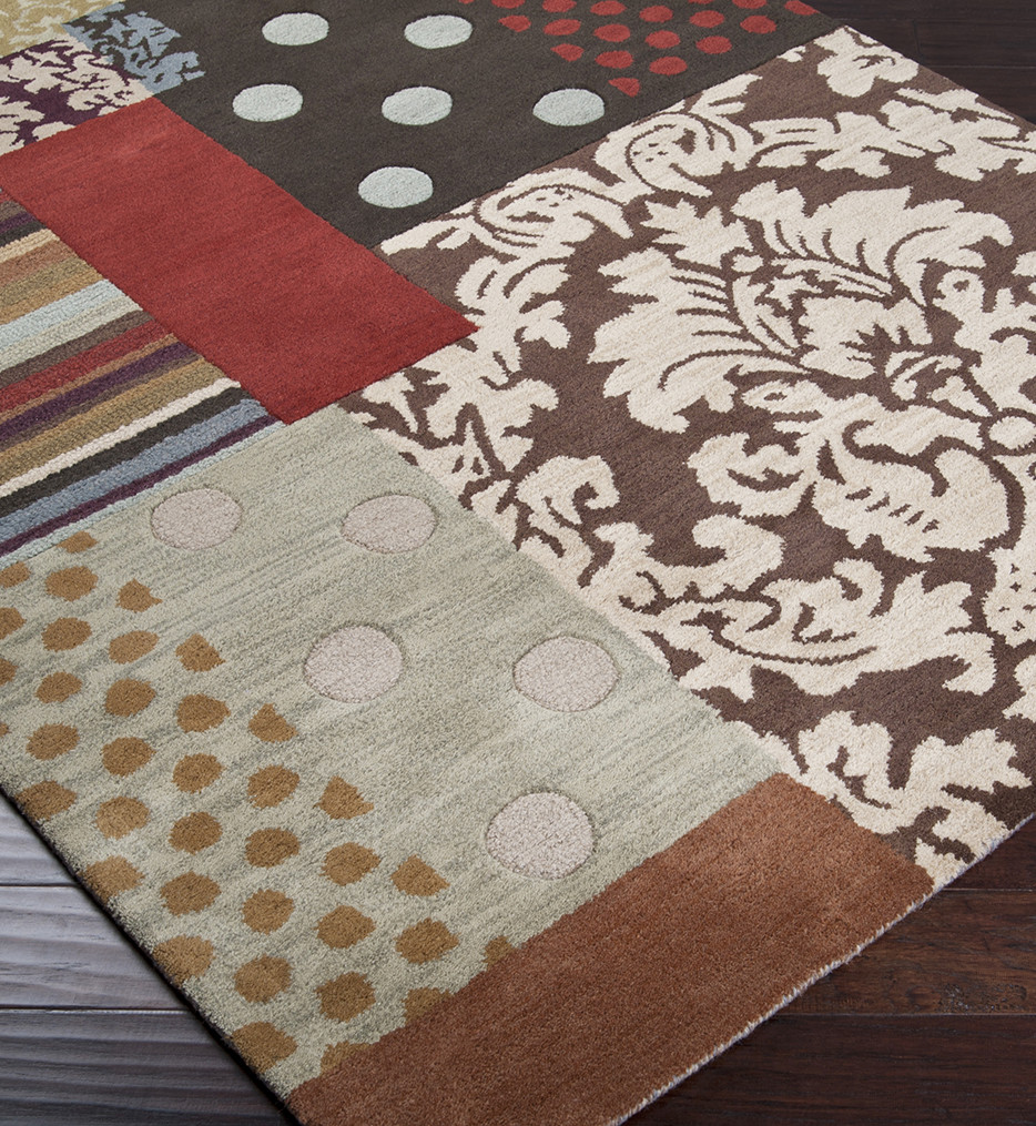 Surya - Aurora Floral and Paisley Patchwork Hand Tufted Rug