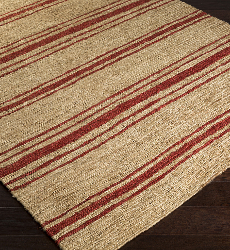 Surya - Columbia Red Striped Natural Fiber Textures Hand Woven Rug