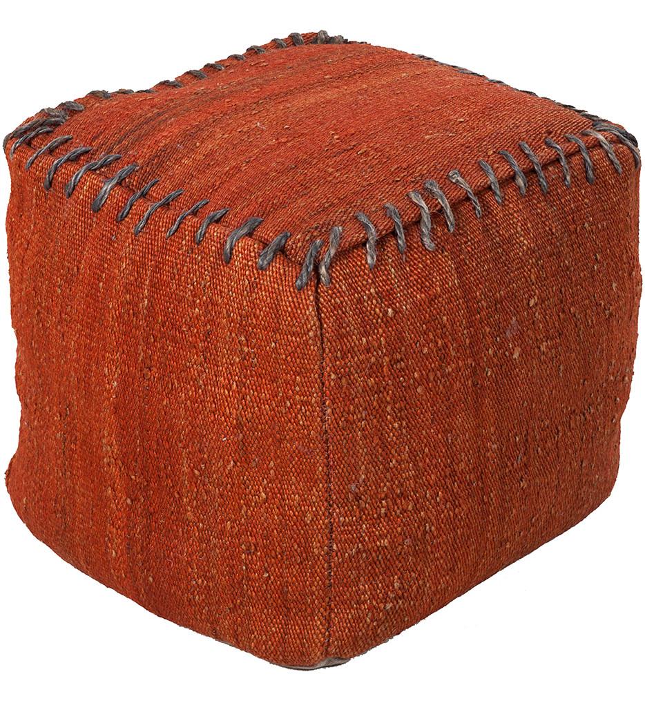 """Surya - POUF-189 - 18"""" by 18"""" by 18"""" Brick Jute Pouf"""