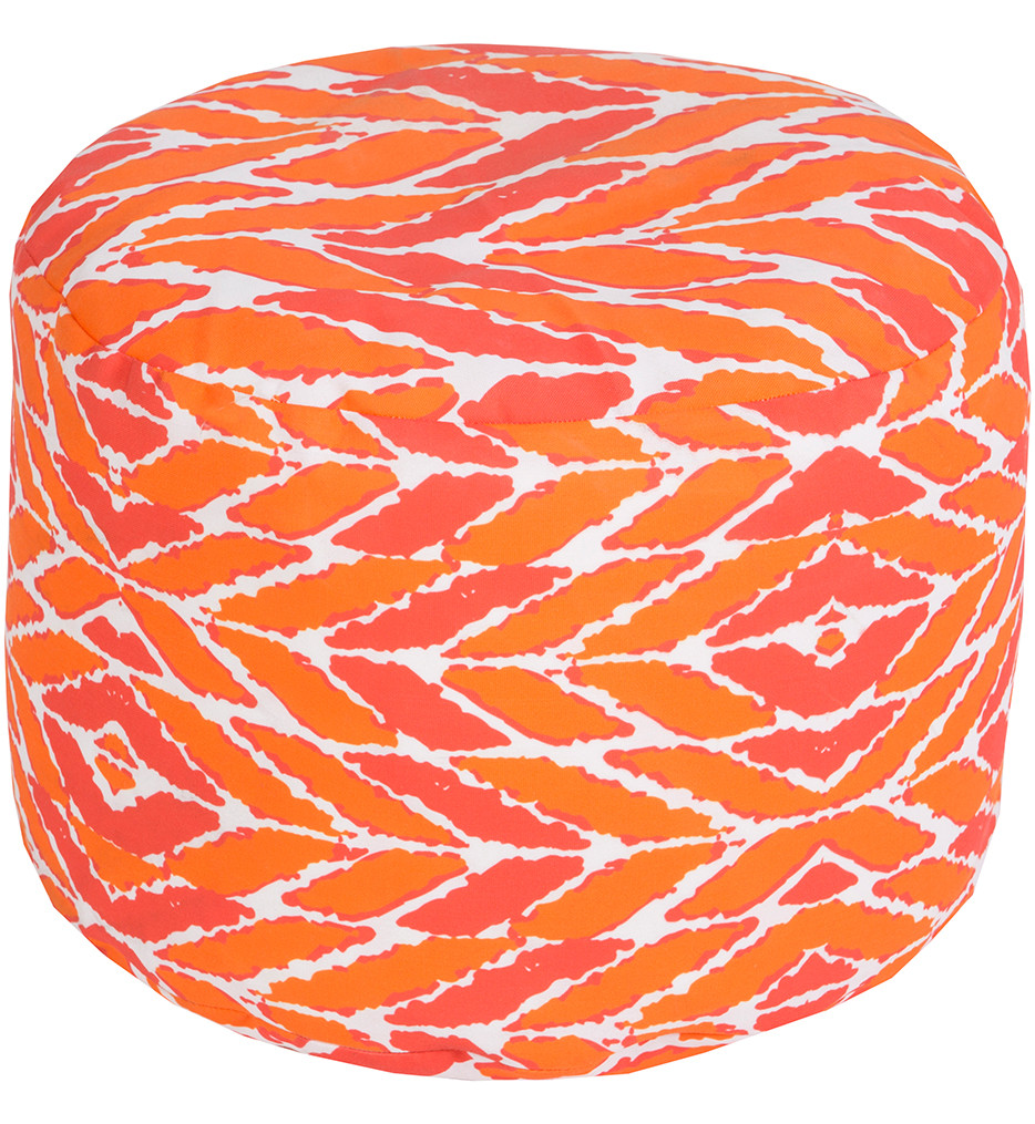 """Surya - POUF-264 - 20"""" by 13"""" Round Coral Polyester Outdoor Safe Pouf"""