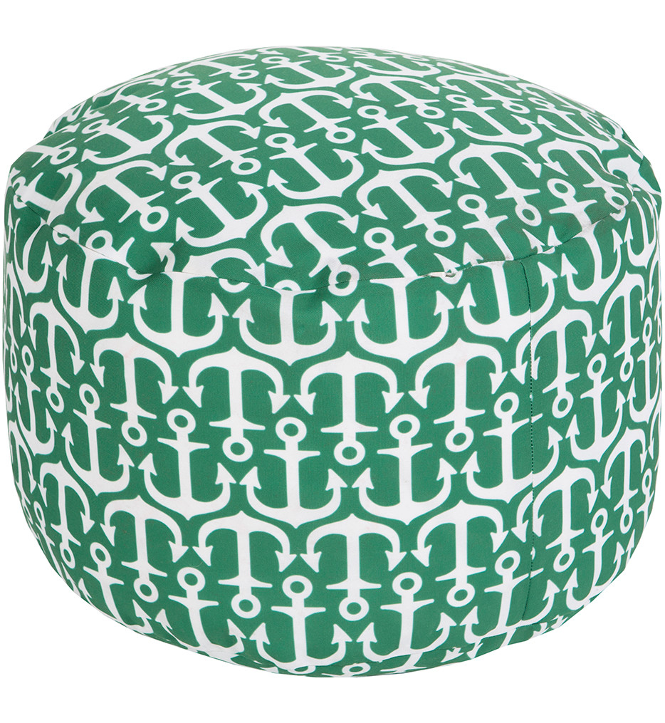 """Surya - POUF-303 - 20"""" by 13"""" Round Ivory Polyester Outdoor Safe Pouf"""
