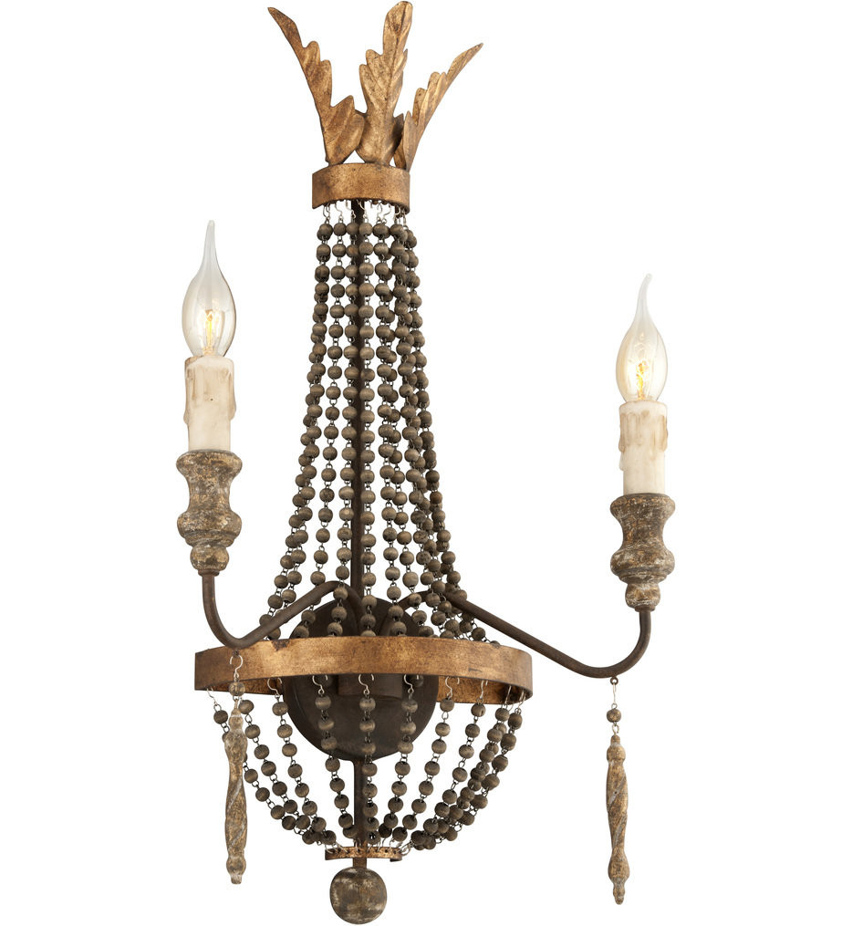 Troy Lighting - B3532 - Delacroix French Bronze with Aged Wood & Distressed Gold Leaf 2 Light Wall Sconce
