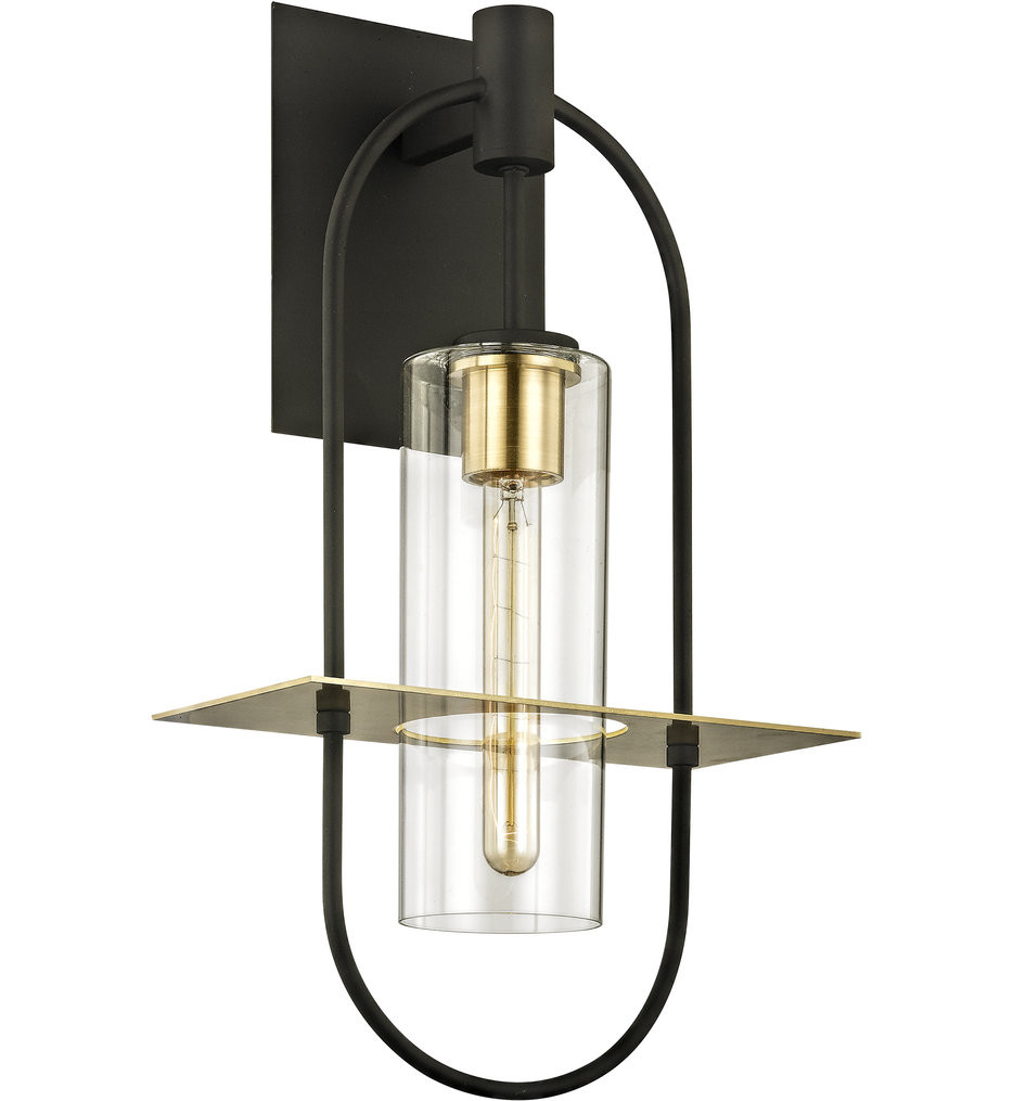 Troy Lighting - B6393 - Smyth Dark Bronze & Brushed Brass 22 Inch 1 Light Outdoor Wall Lantern