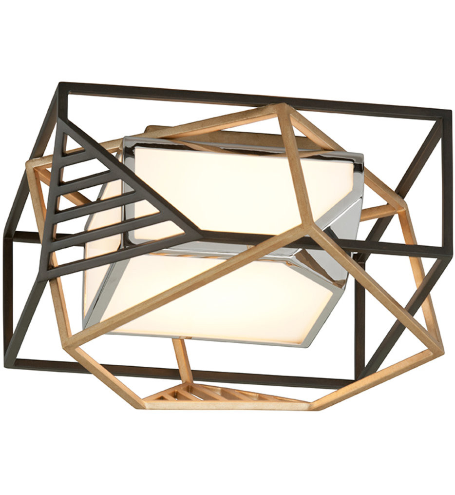 Troy Lighting - C6080 - Cubist Bronze Gold Leaf & Stainless 1 Light Flush Mount