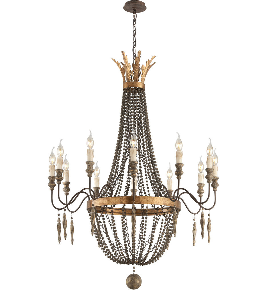 Troy Lighting - Delacroix French Bronze with Aged Wood & Distressed Gold Leaf Chandelier