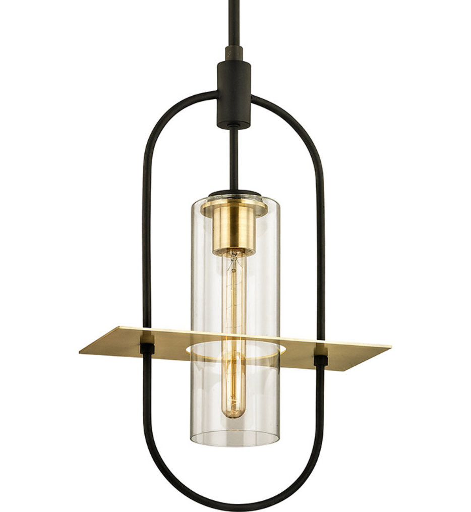 Troy Lighting - F6397 - Smyth Dark Bronze & Brushed Brass 1 Light Outdoor Hanging Lantern