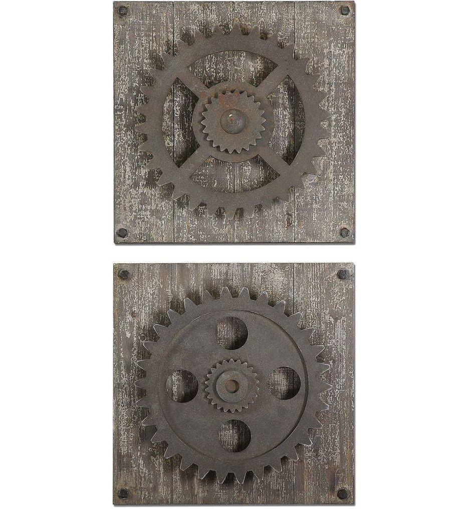Uttermost - 13828 - Rustic Gears Wall Art (Set of 2)