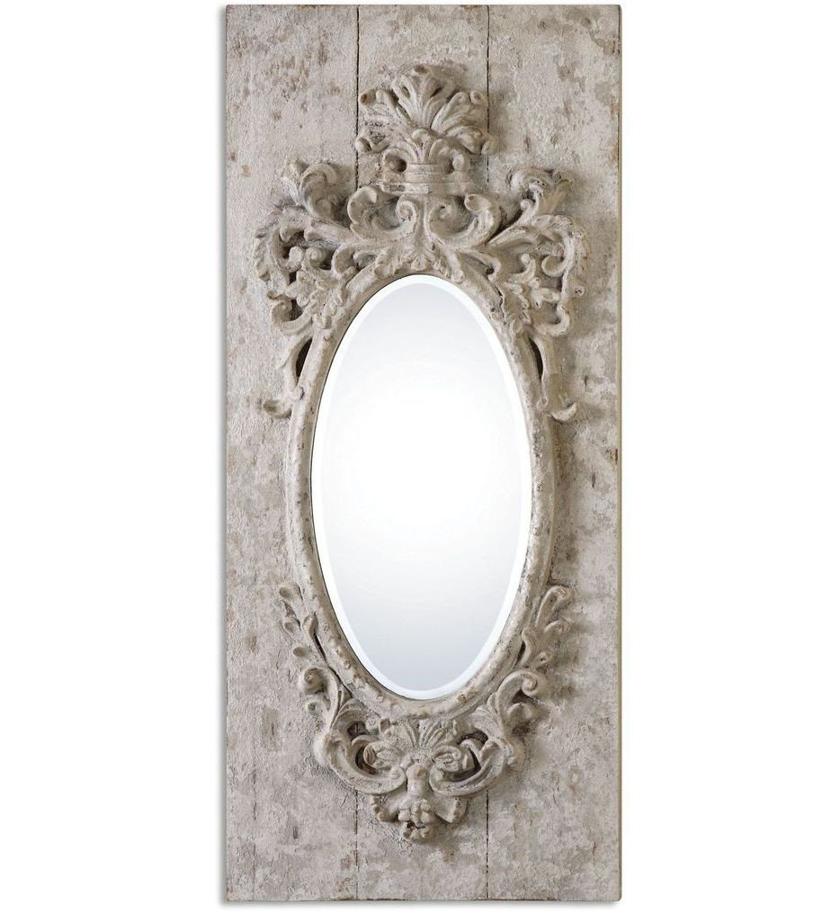 Uttermost - 13927 - Guardia Gray-Ivory Oval Mirror