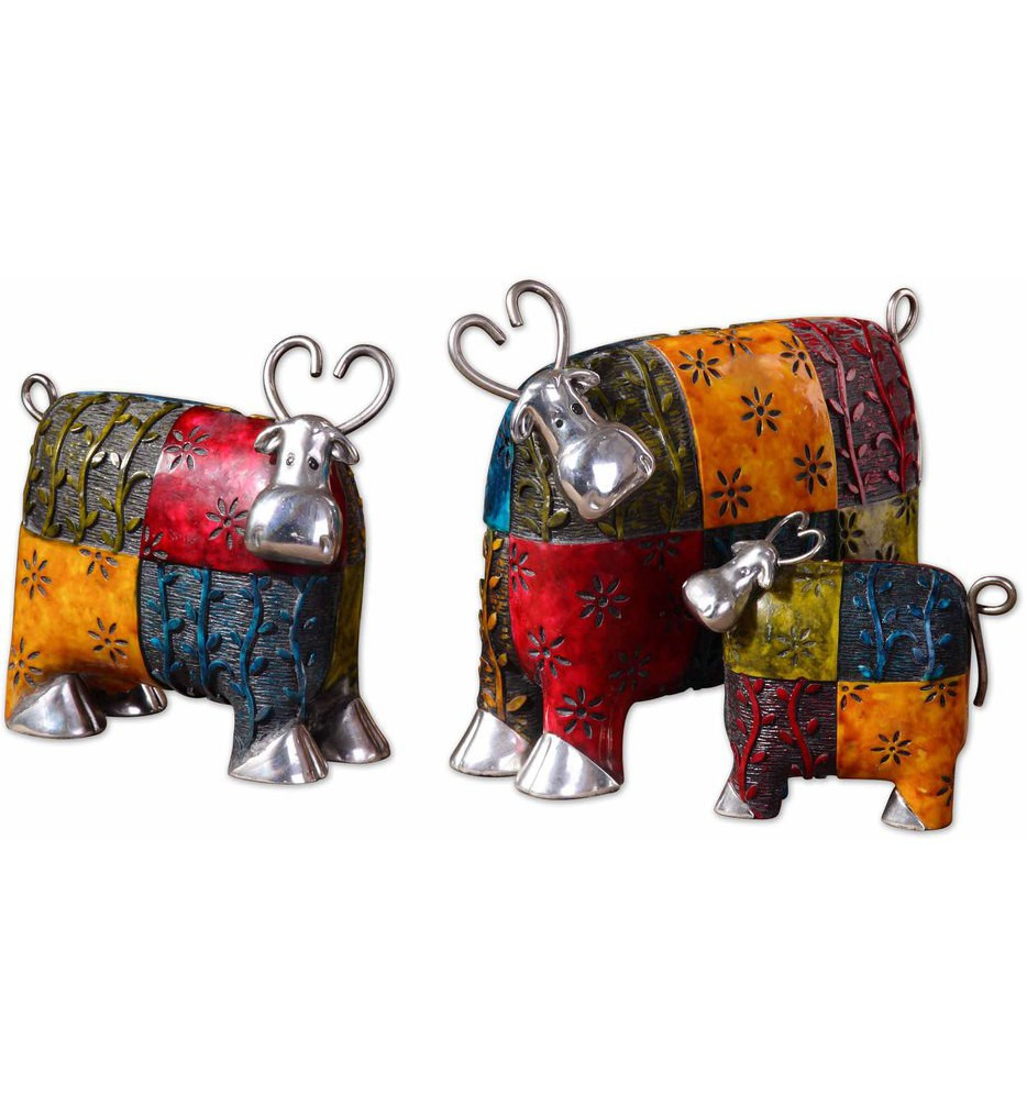 Uttermost - 19058 - Colorful Cows Metal Figurines (Set of 3)