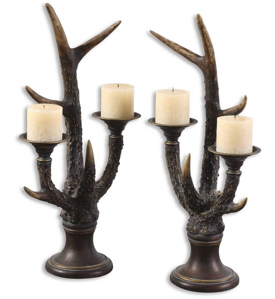 Uttermost - 19204 - Stag Horn Candle Holders (Set of 2)