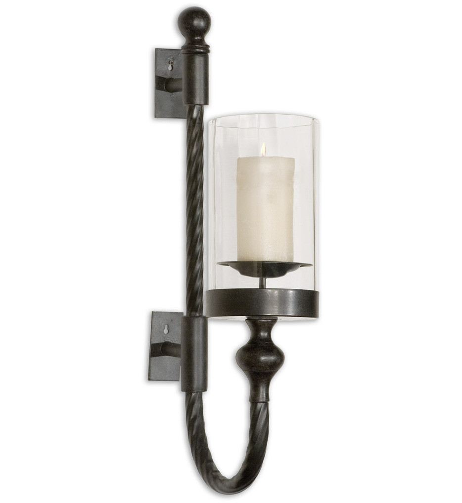 Uttermost - 19476 - Garvin Twist Metal Sconce with Candle