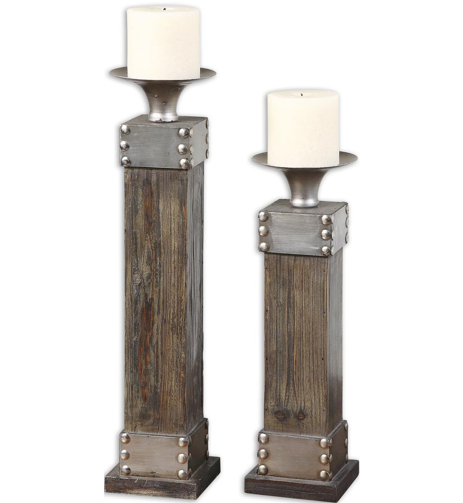Uttermost - 19668 - Lican Natural Wood Candle Holders (Set of 2)