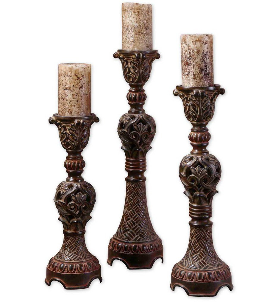 Uttermost - 20312 - Rosina Walnut Brown Candlesticks (Set of 3)