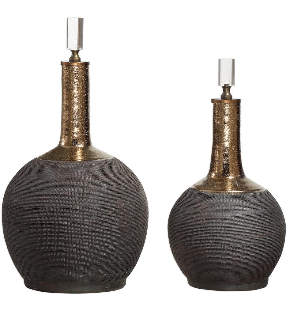 Uttermost - 18923 - Uttermost Arnav Matte Black Bottles (Set of 2)