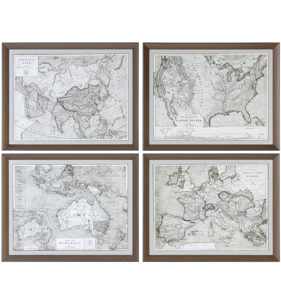 Uttermost - 33639 - Uttermost World Maps Framed Prints (Set of 4)