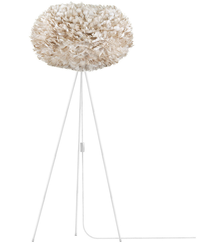 Umage - 3008_4011 - Eos XL Matte White Floor Lamp with Light Brown Shade