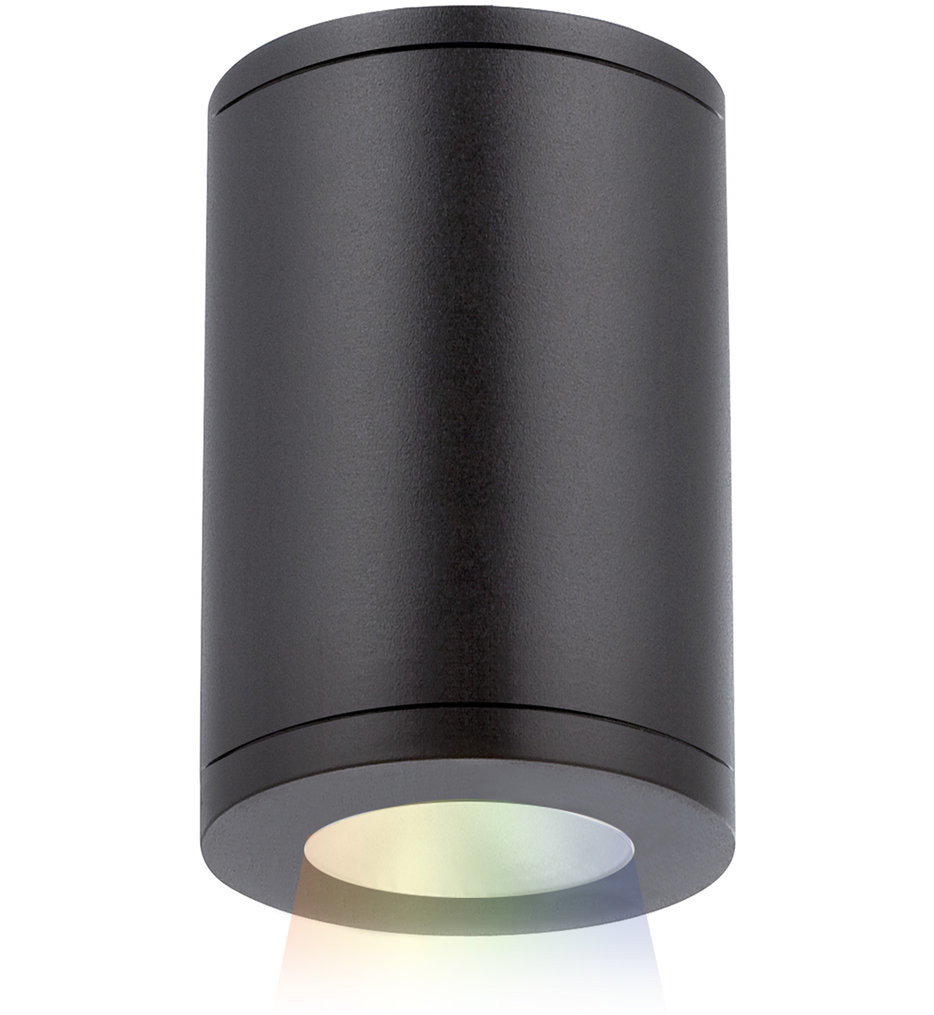 WAC Lighting - DS-CD05-N-CC-BK - Tube Architectural Black Color Changing Narrow Flood Beam 7 Inch Outdoor Flush Mount